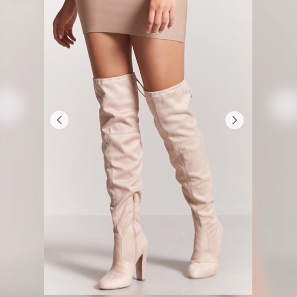f632ba76f0e Light Pink over the knee heeled suede boots